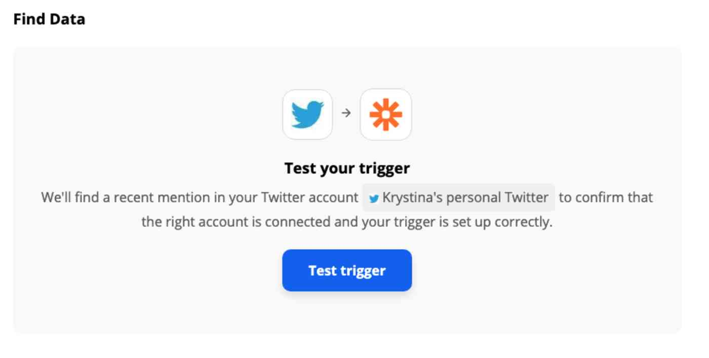 A screenshot of the Zap editor prompting to test the Twitter trigger step.