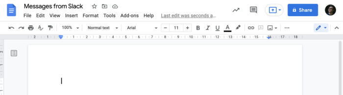 A screenshot of a Google Doc. Shown is the file name, Messages from Slack, and the menu bar, above a blank document.