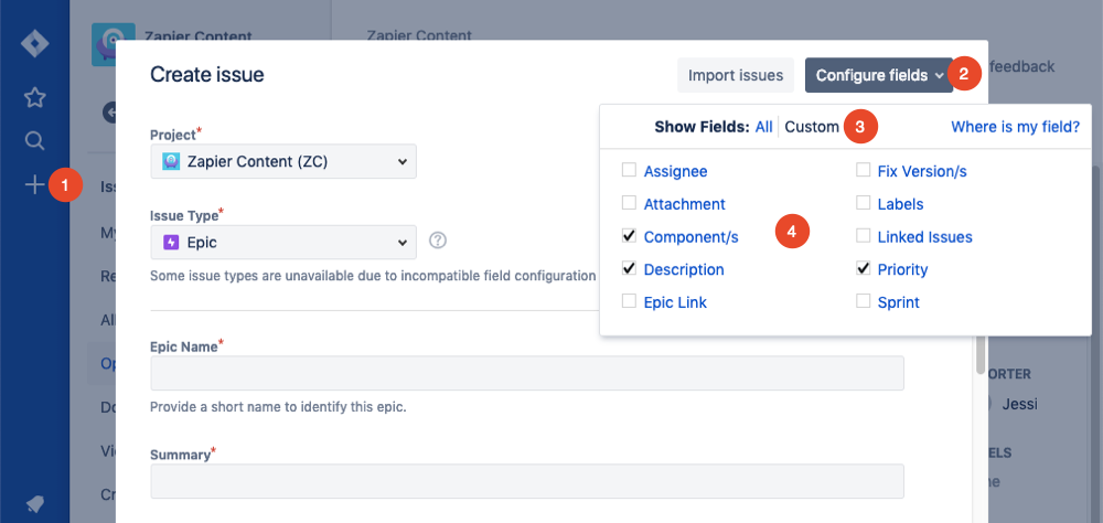 configure issue fields in Jira