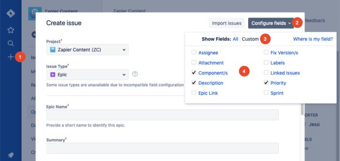 configure issue fields in Jira