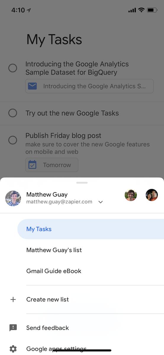 Tareas de Google para iOS
