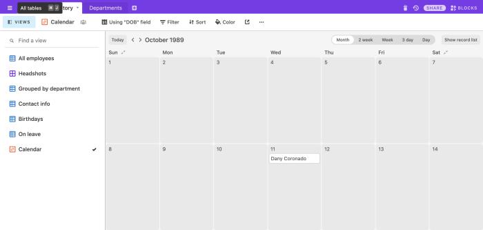 Vista de calendario portátil