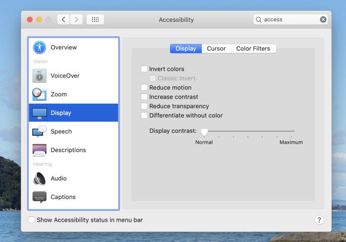 Display settings in macOS