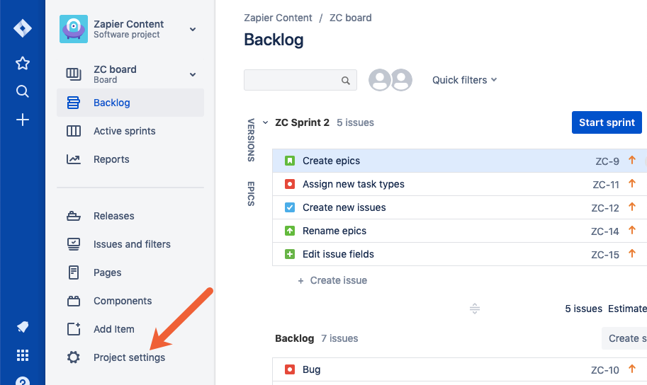 open project settings in Jira