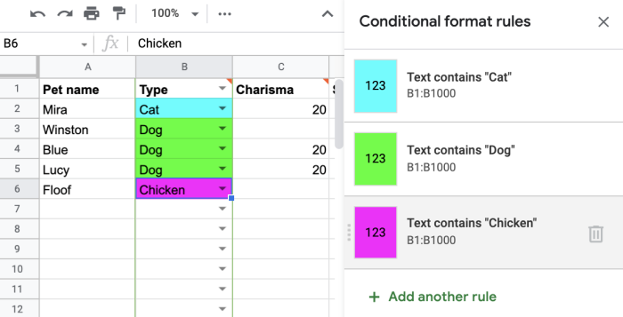 Setting up more conditional formatting rules
