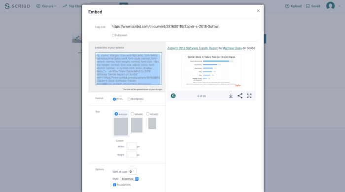 Scribd embed options screenshot