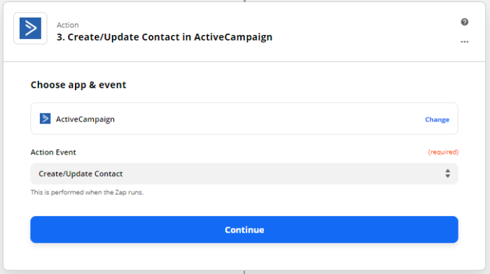 Zap set-up: Create/Update contact in ActiveCampaign