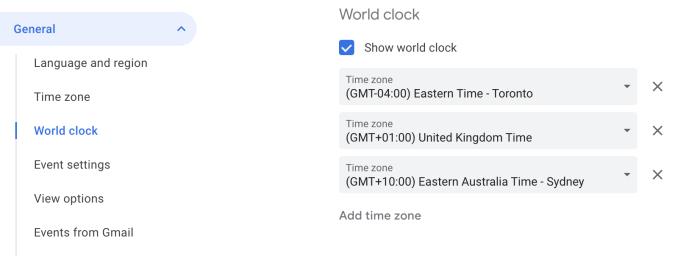World clock settings in Google Calendar