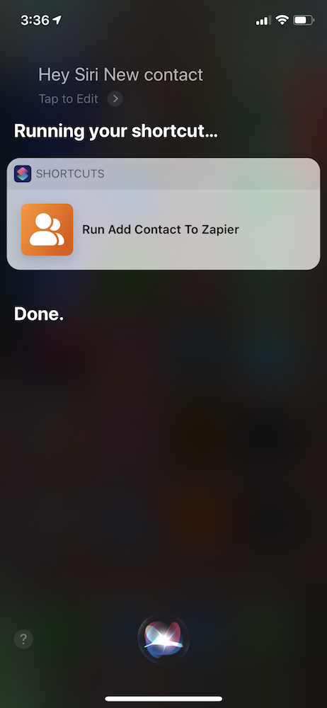 Run Shortcut with Siri