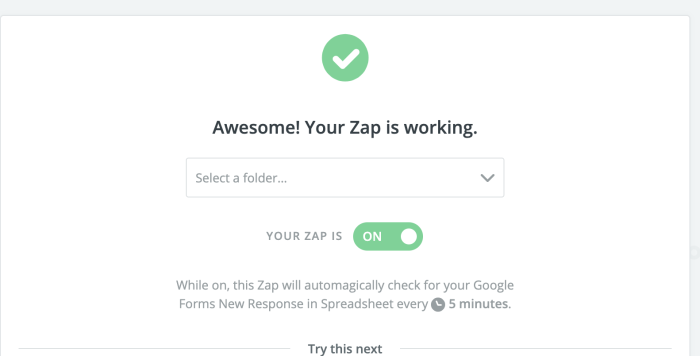 Google Forms to Trello Zap is working