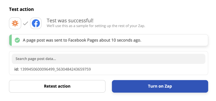 A successful test of Facebook Pages' New Page Post action in the Zap editor.