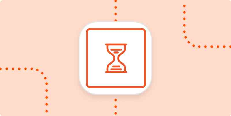 The logo for Delay by Zapier—which looks like an hourglass in an orange rectangle—inside a white square on a light orange rectangle.