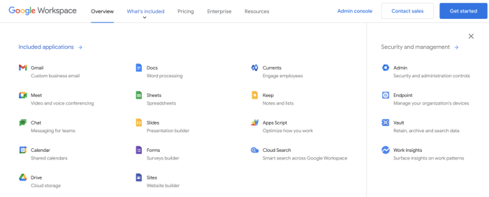 A screenshot of Google Workspace offering