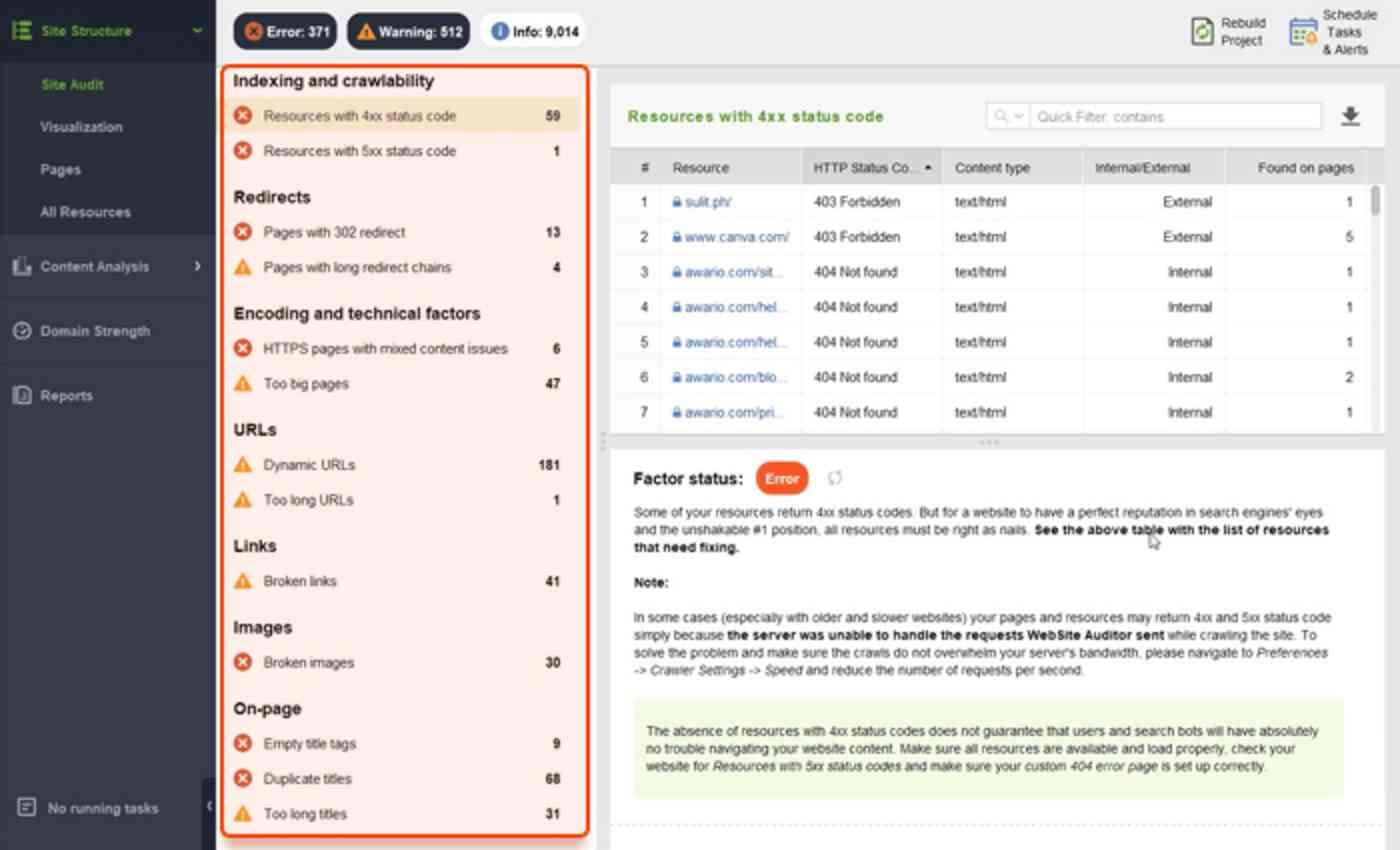 Site audit in WebSite auditor