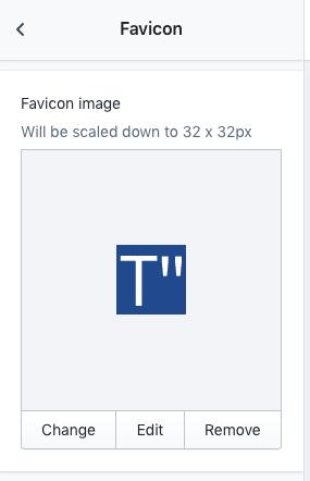 Shopify Favicon settings
