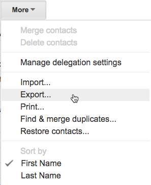Export Google Contacts menu