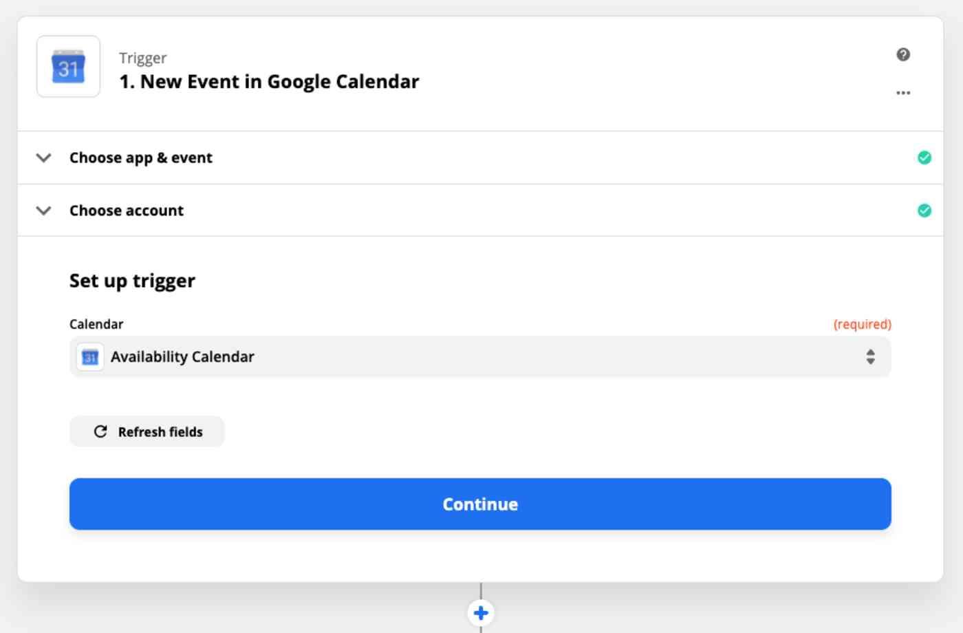 Zap Trigger set-up: Choose calendar
