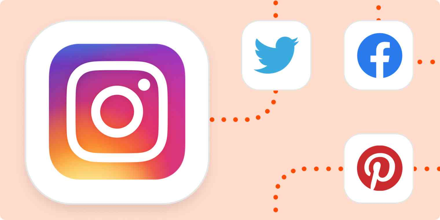 The Instagram logo connected with dotted lines to the logos for Twitter, Facebook, and Pinterest.