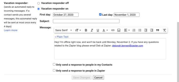 Turning the vacation responder on in Gmail