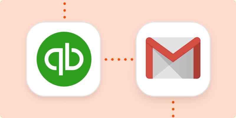 The QuickBooks Online and Gmail logos, connected by a line of orange dots.