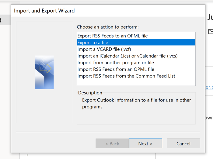 Clicking Export to a file