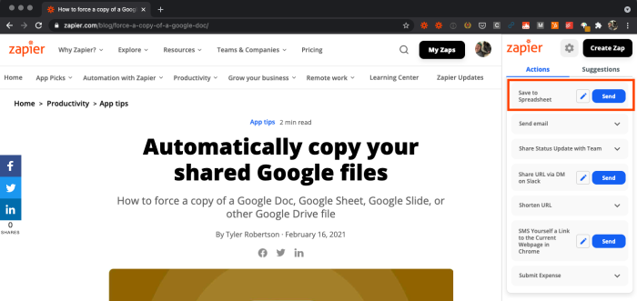 """A screenshot of a Chrome window with the Zapier Chrome extension active on the right side. A rectangle highlights """"Send to Spreadsheet"""" with a blue """"Send"""" button."""