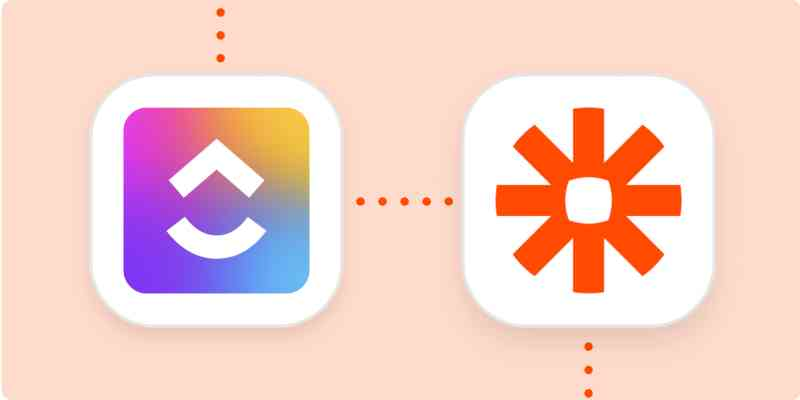ClickUp logo and Zapier logo on an orange background.
