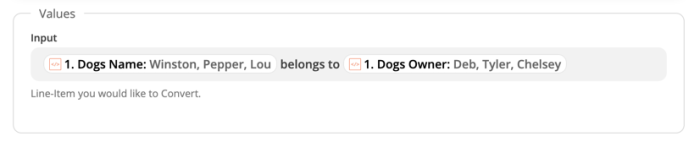 Input field: [Dogs name] belongs to [Dogs owner]