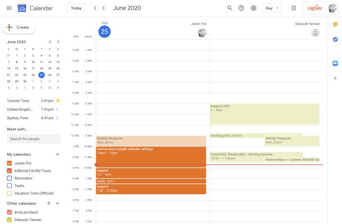 Two calendars side by side in Google Calendar