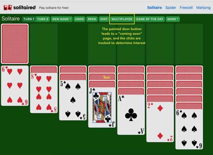 A screenshot of the Multiplayer button option on Solitaired