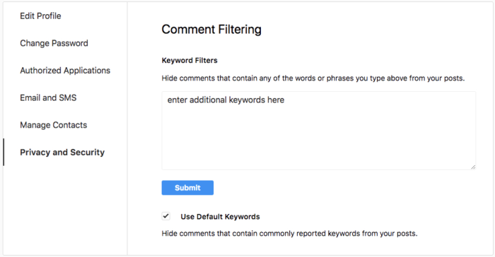 Settings to turn on automatic comment filtering