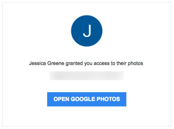 Correo electrónico de invitación de Google Fotos