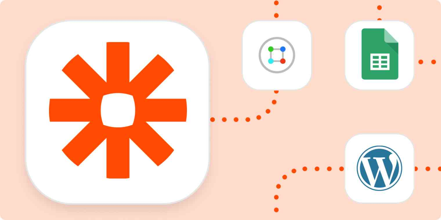 The logos for Zapier, ContentCal, Google Sheets, and WordPress