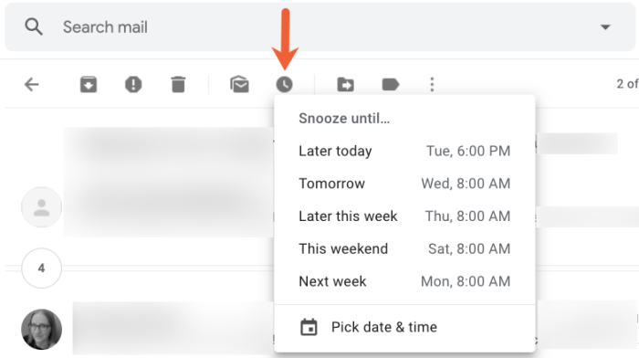 snooze email in Gmail