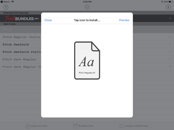 AnyFont iPad