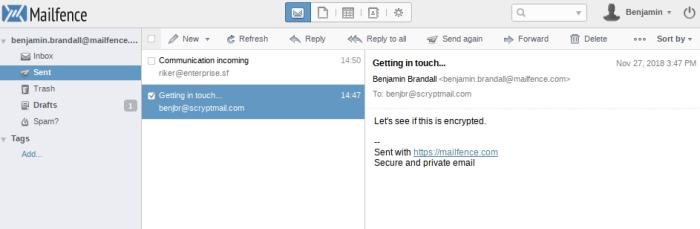 Mailfence interface