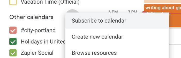 Subscribe to calendar in Google Calendar