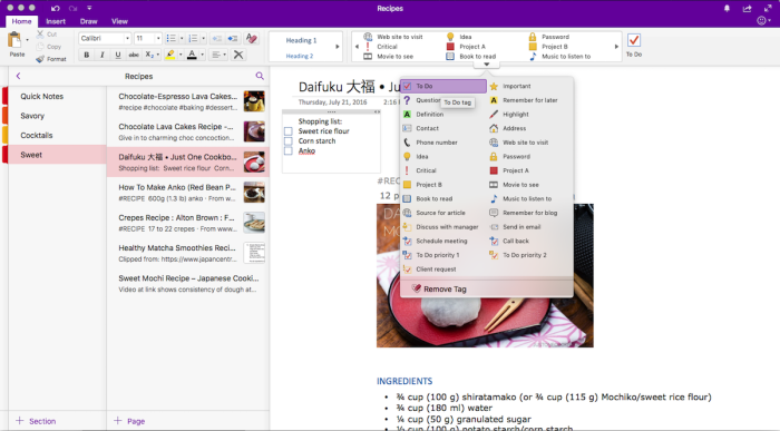 Tags in OneNote