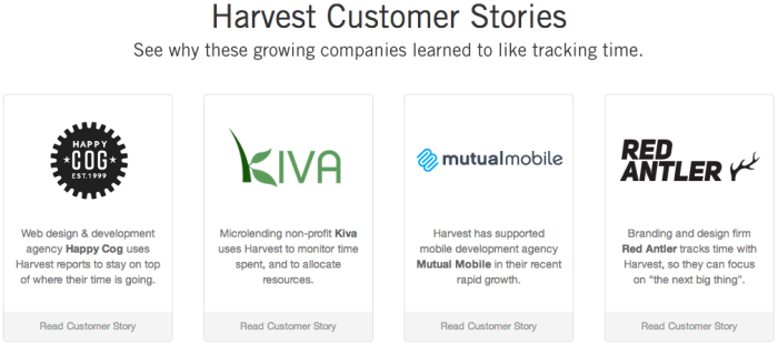 Harvest app case studies