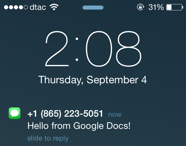 SMS from Google Docs