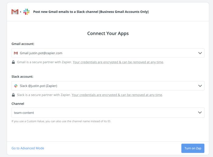 Setting up a Slack Gmail integration