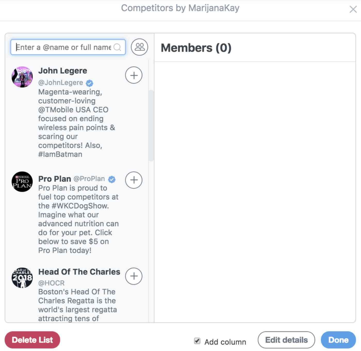Creating Twitter lists in TweetDeck