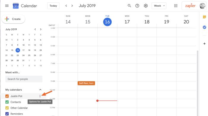 Encuentra la configuración de tu calendario en Google Calendar