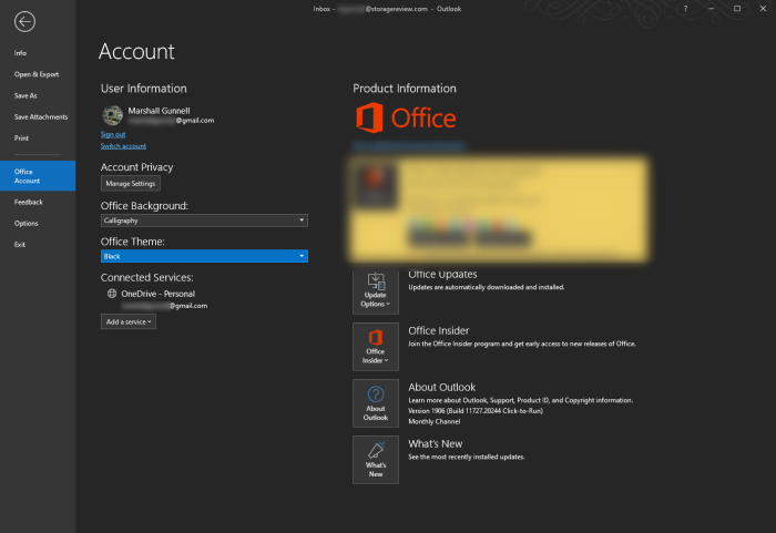 Customize your Office application with themes and backgrounds.