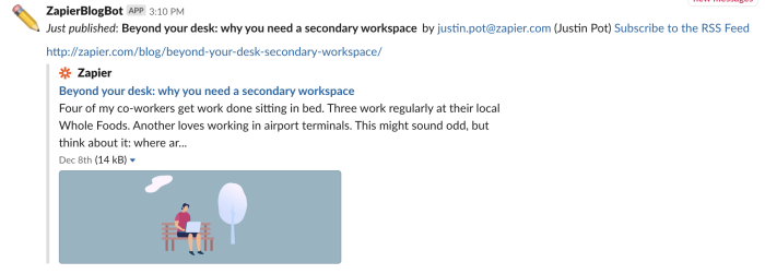 Text from Zapier showing up in Slack