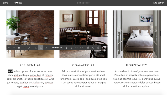 Squarespace page builder screenshot