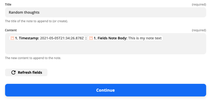 Customizing how the Append to Note action is formatted in the Zap editor. The timestamp and note body information from the Chrome trigger is inserted in the Content field.