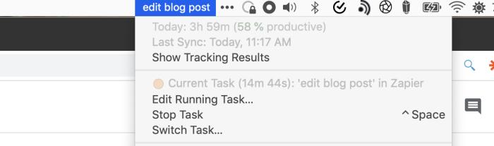 Timing App in the macOS menu bar