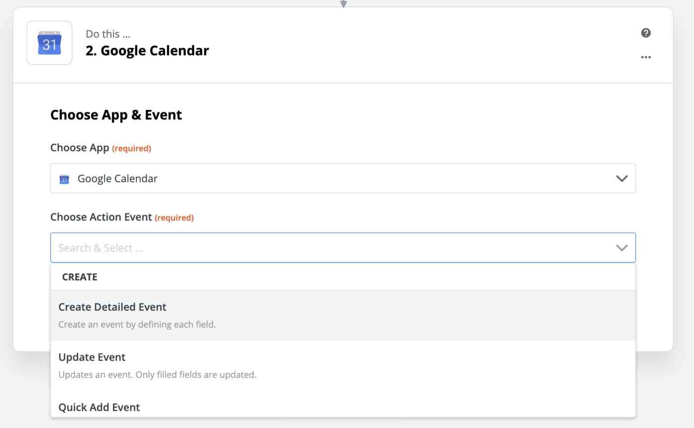 Google Calendar detailed event