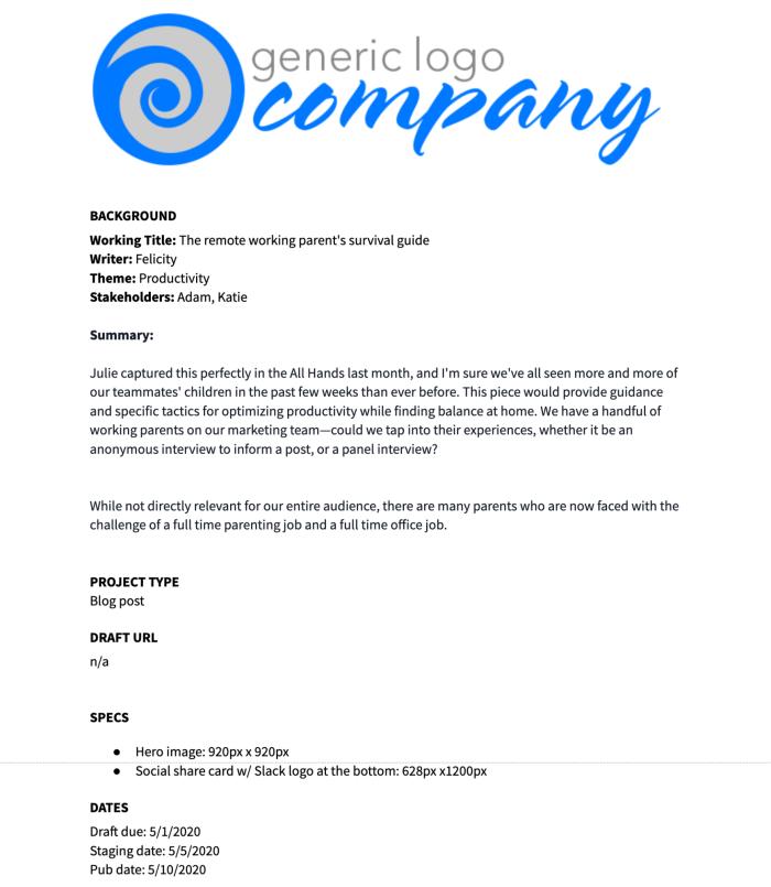 Example Google Docs template